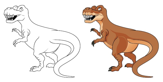 Coloriage De Dessin Animé De Dinosaure Pour Les Enfants Vecteur Premium