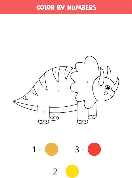Coloriage Avec Dinosaure Mignon De Bande Dessinée. Couleur Par Numéros. Vecteur Premium