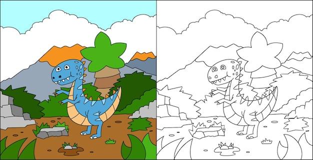 Coloriage Dinosaures Pour Les Enfants Vecteur Premium