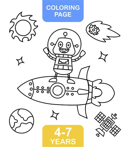 Coloriage Extraterrestre Sur L Espace Pour Les Enfants Vecteur Premium