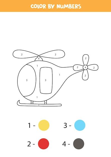Coloriage Avec Hélicoptère De Dessin Animé. Couleur Par Numéros. Jeu De Mathématiques Pour Les Enfants. Vecteur Premium