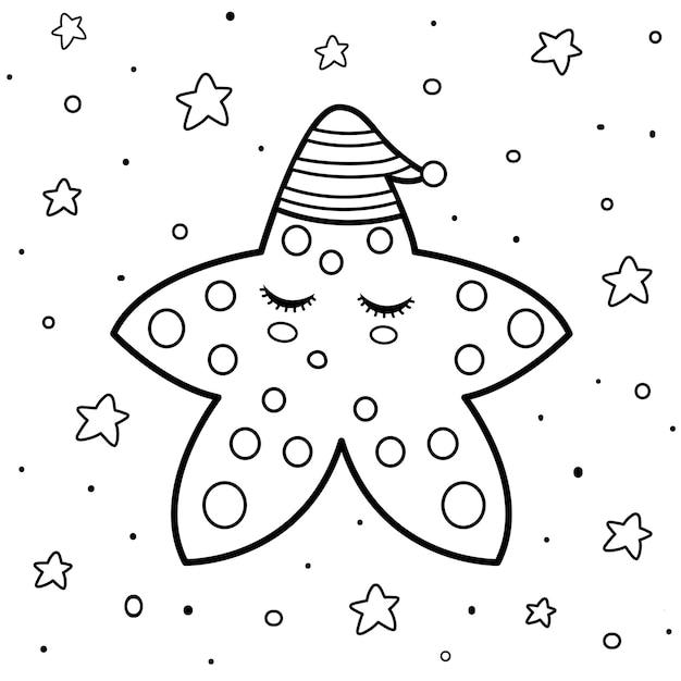 Coloriage Avec Une Jolie Etoile Endormie Bonne Nuit Modele De Livre De Coloriage Fond Noir Et Blanc Illustration Vecteur Premium
