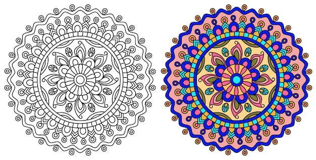 Coloriage Mandala Design Relaxant Pour Adultes Vecteur Premium