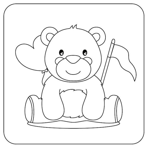 Coloriage Mignon Pour Les Enfants Avec Ours Vecteur Premium