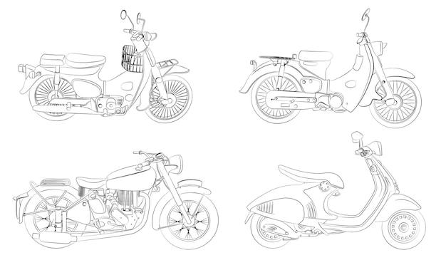 Coloriage De Motos De Dessin Animé Pour Les Enfants Vecteur Premium