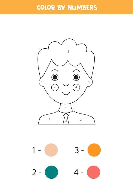 Coloriage Par Numéros Avec Dessin Animé Garçon Jeu De Mathématiques éducatif Pour Les Enfants Vecteur Premium