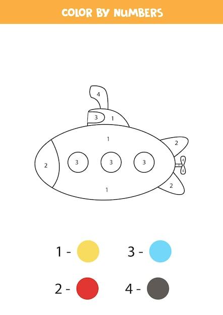 Coloriage Avec Sous-marin De Dessin Animé. Couleur Par Numéros. Jeu De Mathématiques Pour Les Enfants. Vecteur Premium