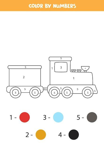 Coloriage Avec Train De Dessin Animé. Couleur Par Numéros. Jeu De Mathématiques Pour Les Enfants. Vecteur Premium