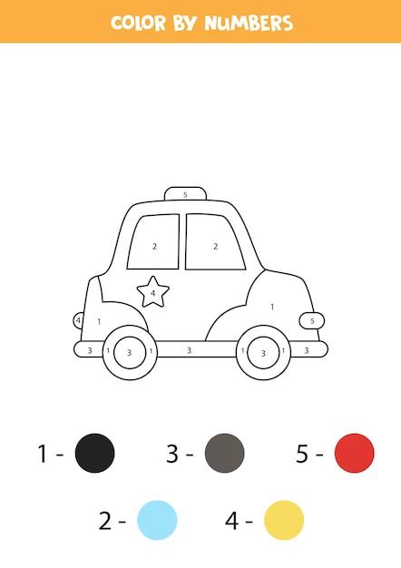 Coloriage Avec Voiture De Police De Dessin Animé. Couleur Par Numéros. Jeu De Mathématiques Pour Les Enfants. Vecteur Premium