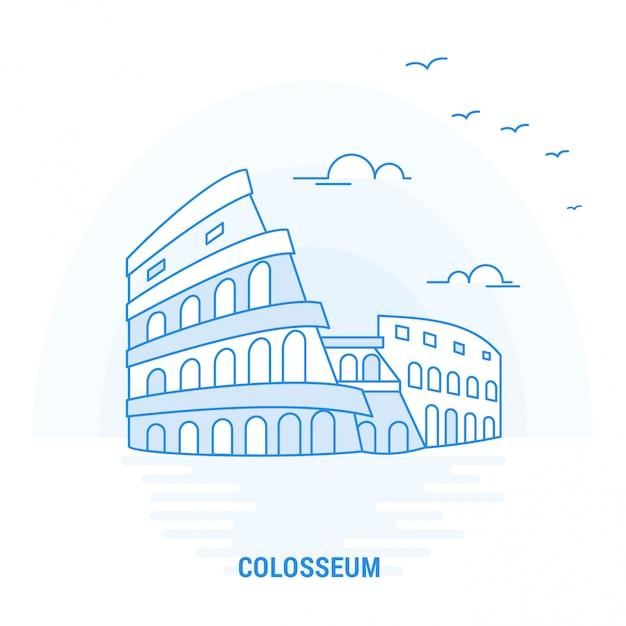 Colosseum point de repère bleu Vecteur Premium