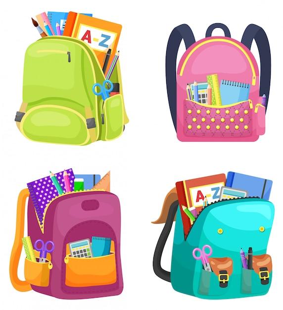 Colour school backpack retour à l'école Vecteur Premium