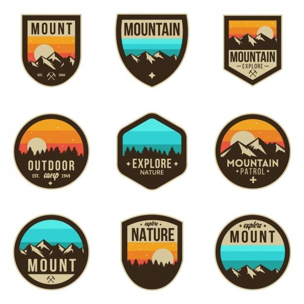 Coloured badges d'aventure Vecteur gratuit