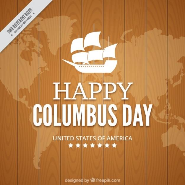 Columbus day avec un fond en bois Vecteur gratuit