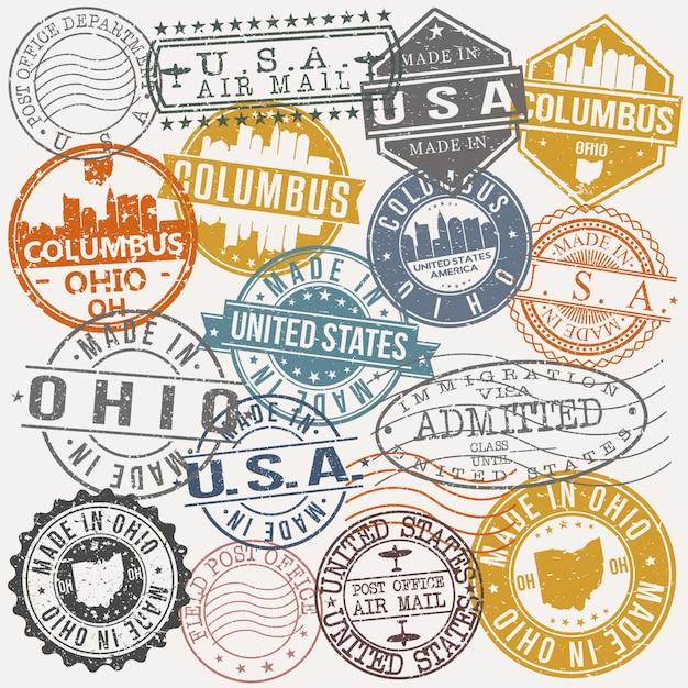 Columbus ohio ensemble de dessins de timbres de voyage et d'affaires Vecteur Premium