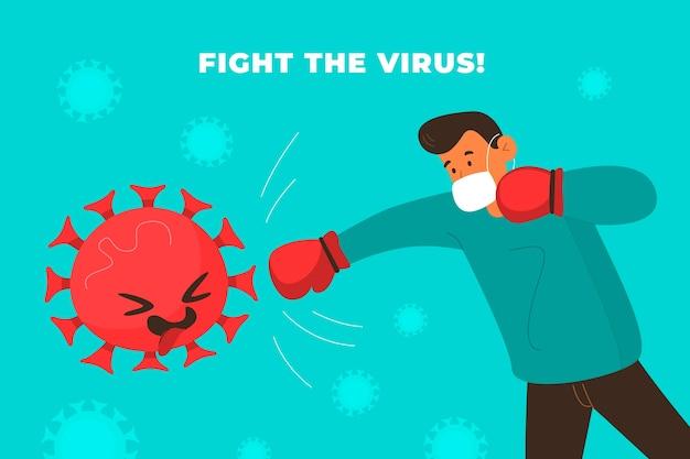 Combat Illustré Avec Le Virus Vecteur gratuit