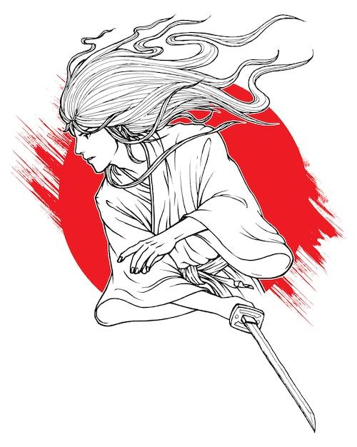 Combat samouraï Vecteur Premium