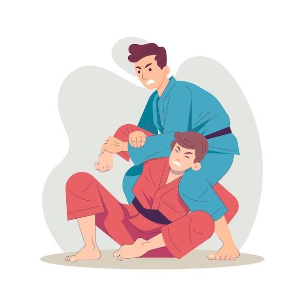 Combats D'athlètes De Jiu-jitsu Vecteur gratuit