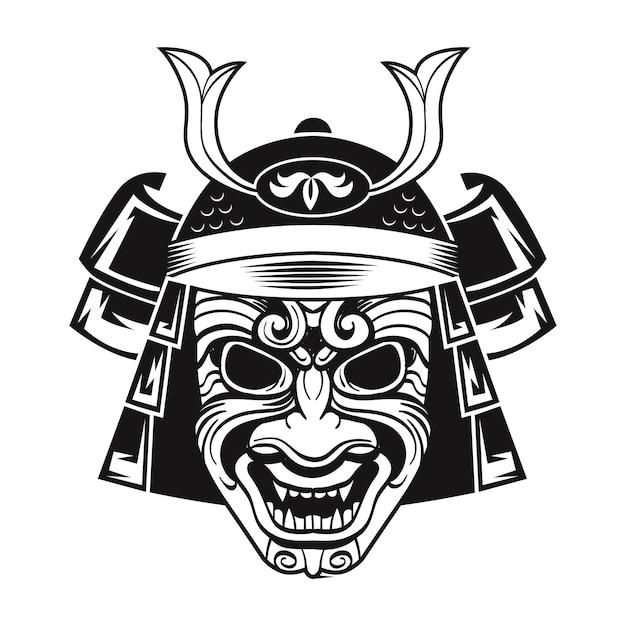 Combattant Japonais Au Masque Noir. Guerrier Traditionnel Du Japon. Illustration Vectorielle Isolée Vintage Vecteur gratuit