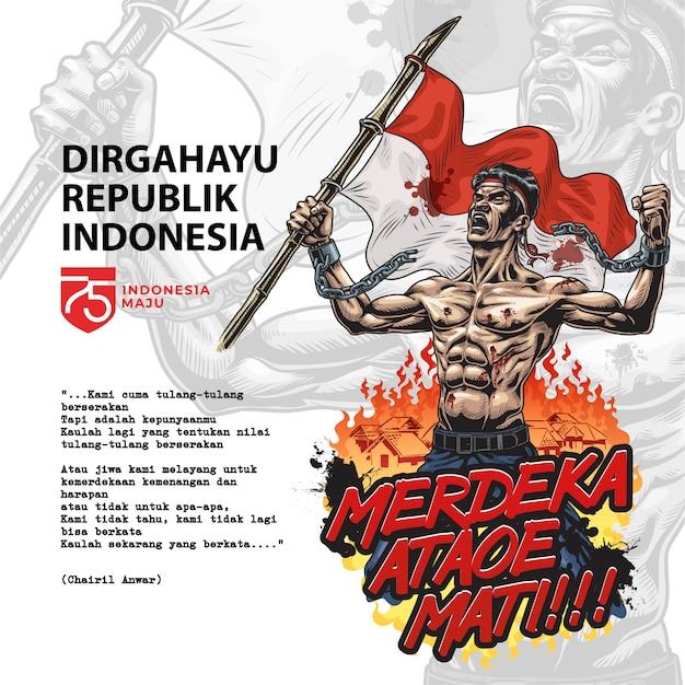 Combattant De La Liberté Indonésien. Merdeka Ataoe Mati. Illustration De Style Comique Vecteur Premium