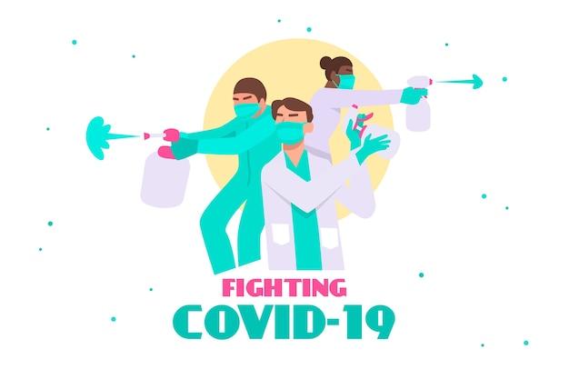 Combattez Le Concept Du Virus Avec Des Médecins Vecteur gratuit