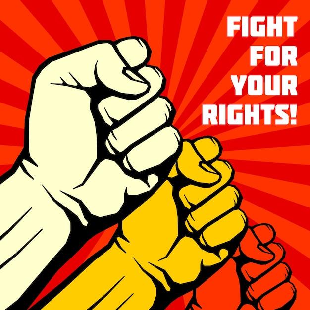 Combattez pour vos droits, solidarité, affiche de vecteur de révolution Vecteur Premium