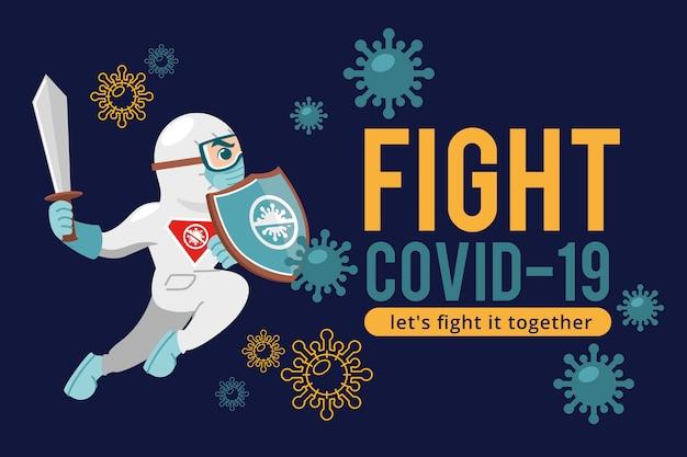 Combattez Le Virus Avec L'épée Et La Combinaison De Protection Vecteur Premium