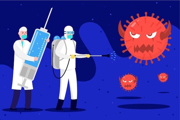 Combattez Le Virus Avec Une Grosse Seringue Remplie De Remède Vecteur gratuit