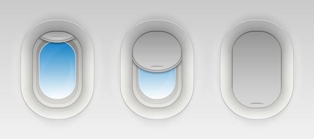 Combattez les vitres d'avion Vecteur Premium