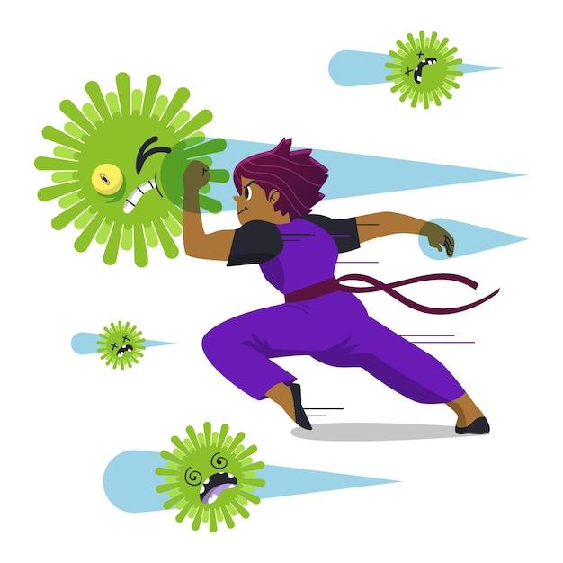 Combattre Le Concept De Virus Vecteur Premium