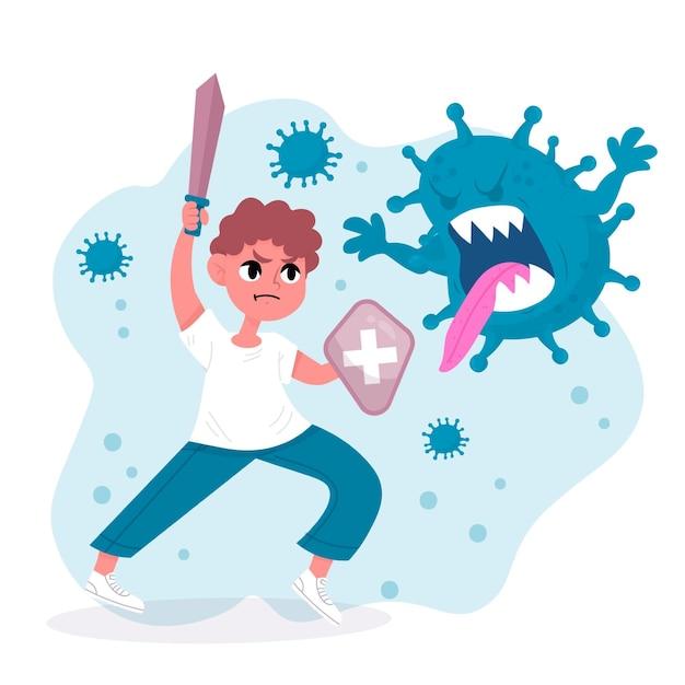 Combattre Le Concept De Virus Vecteur gratuit