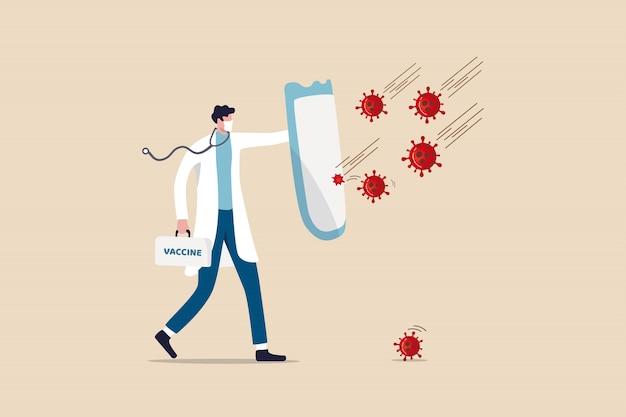 Combattre Et Protéger Le Concept D'épidémie De Coronavirus Covid-19, Médecin Portant Un Masque Sanitaire Avec Un Stéthoscope Tenant Un Bouclier Protecteur Et Une Boîte De Vaccins Pour Se Protéger Des Agents Pathogènes Du Coronavirus Covid-19. Vecteur Premium