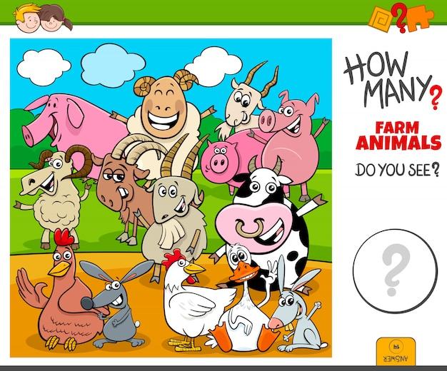 Combien de tâches éducatives d'animaux d'élevage pour les enfants Vecteur Premium