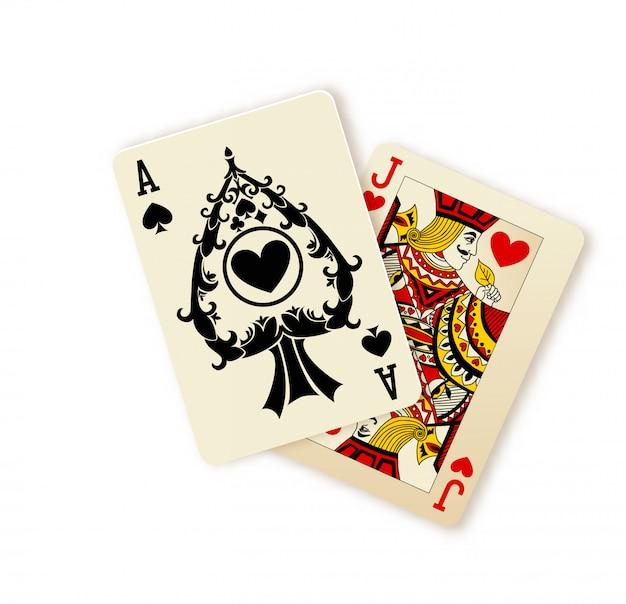 Combinaison de cartes à jouer black jack Vecteur Premium