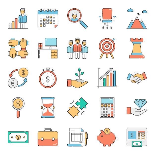 Combo de business et finance collection Vecteur Premium