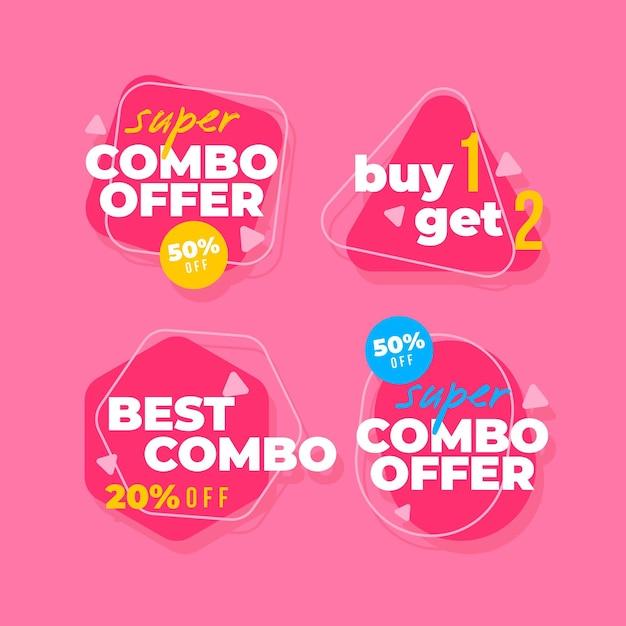 Combo Propose Une Collection D'étiquettes Vecteur Premium