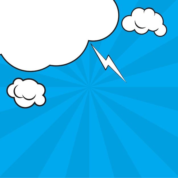 Comic pop art blue background avec des ombres de demi-teintes et des nuages. Vecteur Premium