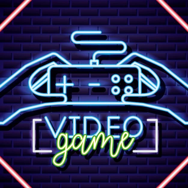 Commande de jeu vidéo sur le style néon sur le mur de briques Vecteur gratuit