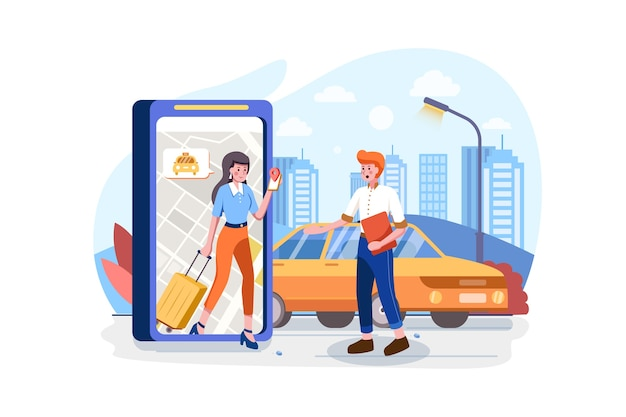 Commande En Ligne Du Concept De Voiture De Taxi Vecteur Premium