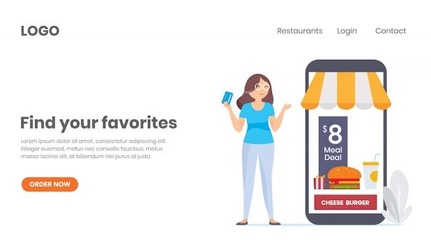 Commande de nourriture en ligne, acheter en ligne Vecteur Premium