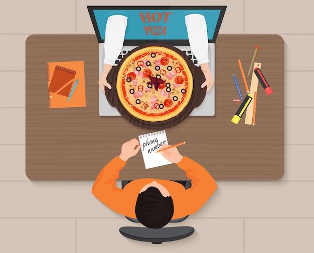 Commande de pizza en ligne Vecteur Premium