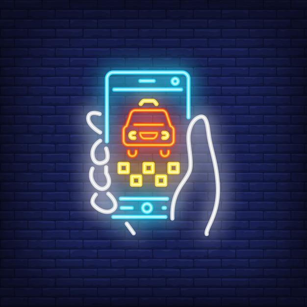Commande de taxi en ligne au néon Vecteur gratuit