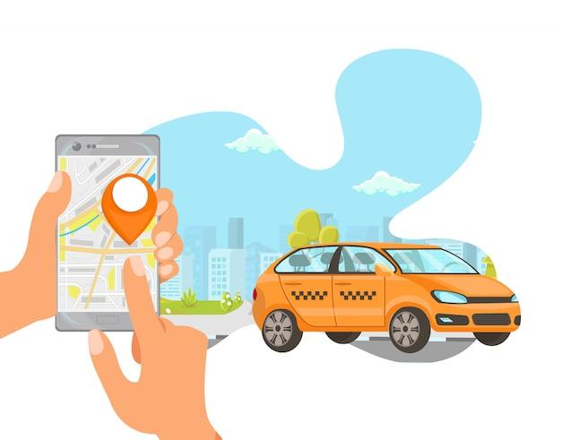 Commande De Taxi Vector Plate Cartoon Illustration Vecteur Premium
