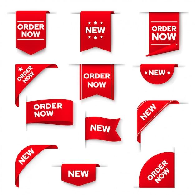 Commandez Maintenant Des Bannières Rouges, Ensemble D'éléments Web Vecteur Premium