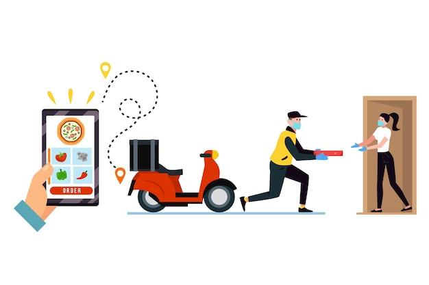 Commandez Par Téléphone Et Recevez La Nourriture à La Porte Vecteur Premium