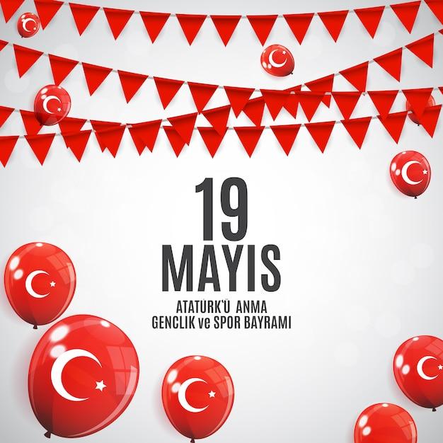 Commémoration de ataturk, journée de la jeunesse et du sport Vecteur Premium