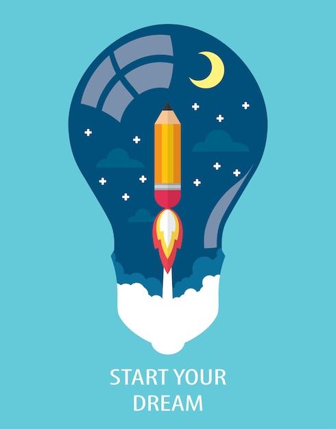 Commencez votre rêve Vecteur Premium
