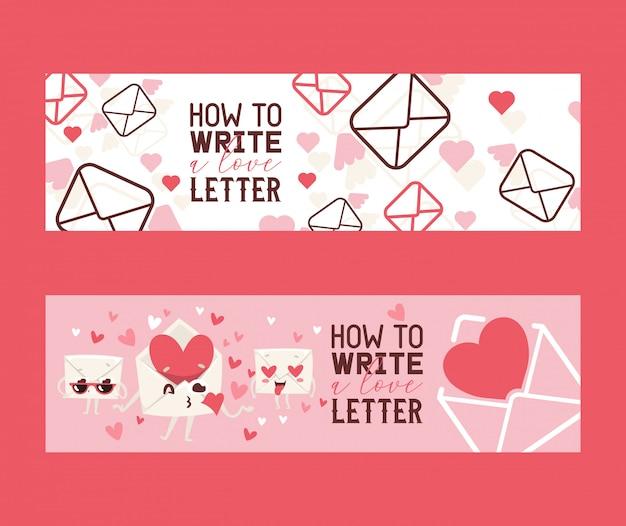 Comment écrire un ensemble de lettres d'amour de bannières. enveloppes avec disques envoyant des bisous. face à l'amour avec des coeurs au lieu des yeux. Vecteur Premium