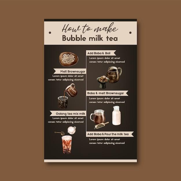 Comment faire du thé au lait aux bulles fait maison, contenu de l'annonce moderne, illustration à l'aquarelle Vecteur gratuit