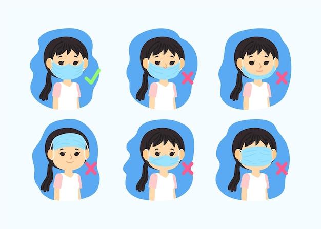 Comment Porter Une Illustration De Masque Facial Vecteur gratuit