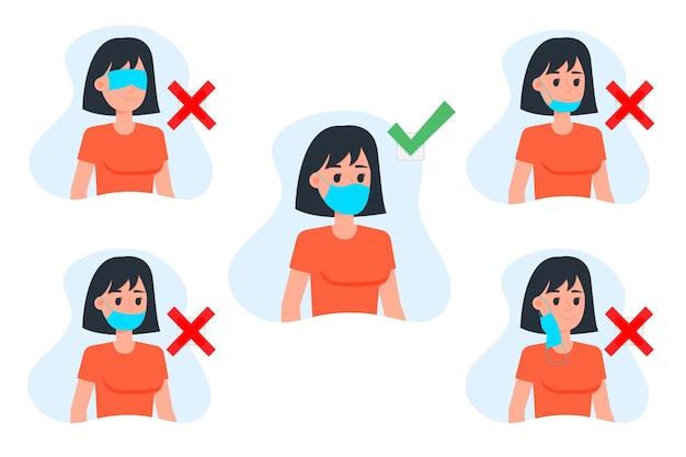 Comment Porter Un Masque Facial Bien Et Mal Vecteur gratuit